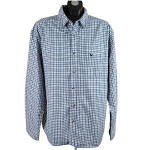 EDDIE BAUER Long Sleeve Shirt Blue White Plaid
